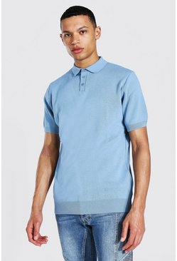 Dusty blue blue Tall Short Sleeve Knitted Polo