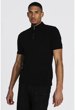 Tall Short Sleeve Half Zip Turtle Neck Jumper, Black schwarz