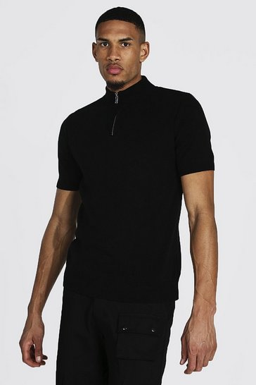 Black Tall Short Sleeve Half Zip Turtle Neck Jumper