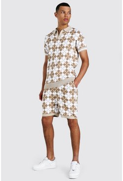 Tall Knitted Revere Printed Polo & Short Set, Ecru weiß