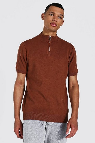 Rust orange Tall Short Sleeve Half Zip Turtle Neck Jumper