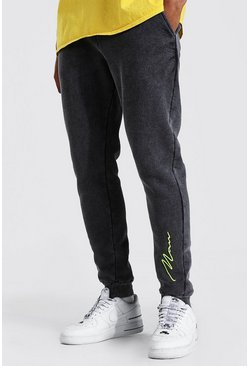 Charcoal grey Slim Man Signature Acid Wash Jogger