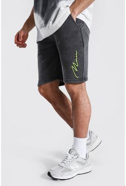 Charcoal grey Slim Man Signature Acid Wash Jersey Short
