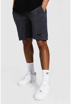 Charcoal grey Slim Man Original Man Acid Wash Jersey Short