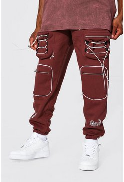 Chocolate brown Bandana Embroidered Utility Cargo Jogger