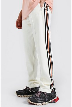 Cream white Official Man Towel Jogger With Side Tape
