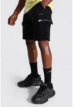 Black Man Zip Detail Cargo Shorts