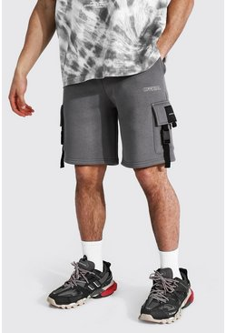 Official Utility Skinny Cargo Shorts, Charcoal grau