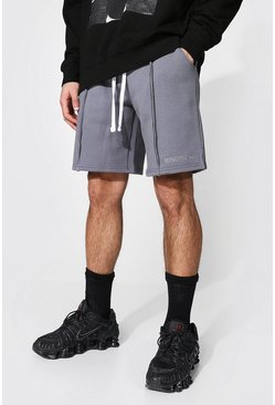 Charcoal grey Loose Man Official Split Hem Jersey Shorts