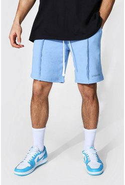 Loose Man Official Split Hem Jersey Shorts, Pale blue azul