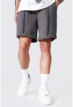 Khaki Loose Man Official Split Hem Jersey Shorts