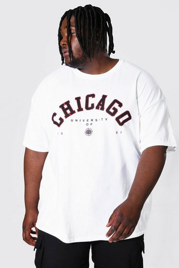 White Plus Size Chicago Varsity Print T-shirt