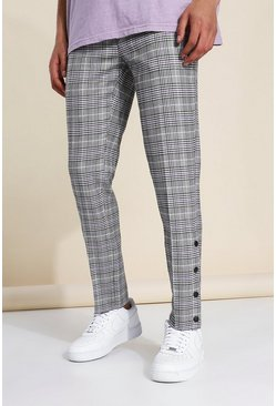 Grey Skinny Crop Check Tailored Popper Trouser