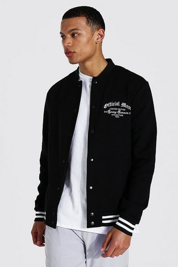 Black Tall Man Varsity Jersey Harrington Jacket