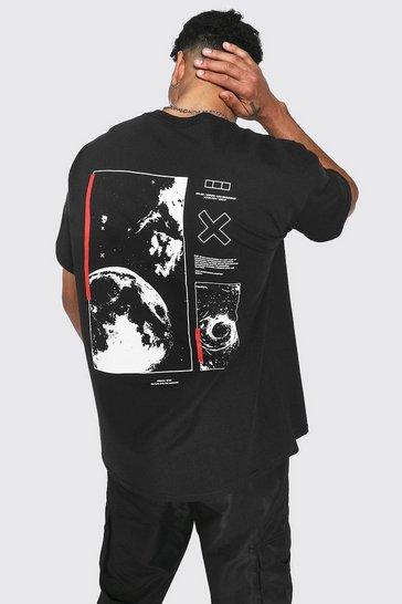Black Oversized Space Back Print T-shirt