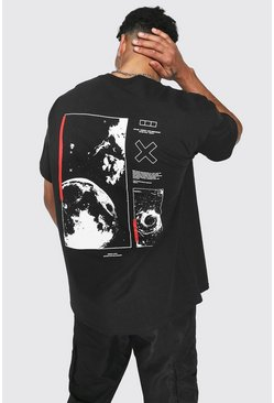 Oversized Space Back Print T-shirt, Black schwarz