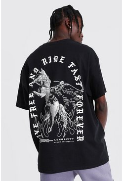 Black Oversized Horse Back Print T-shirt