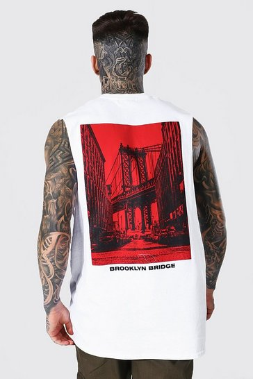 White Oversized Brooklyn Bridge Back Print Tank