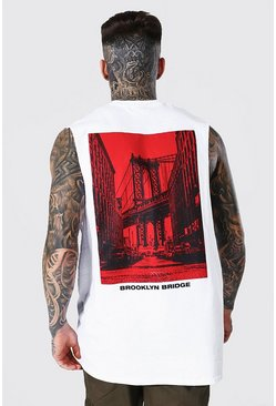 Oversized Brooklyn Bridge Back Print Tank, White blanc