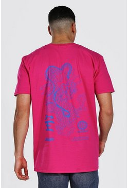 Pink Oversized Dragon Back Print T-shirt
