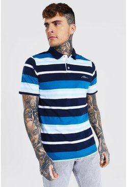 Navy Man Signature Horizontal Stripe Jersey Polo