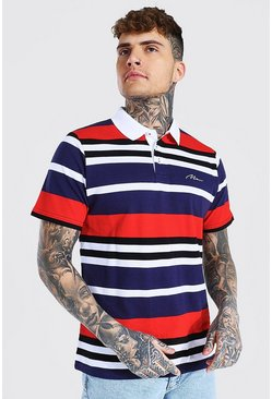 Navy Man Signature Horizontal Stripe Pique Polo