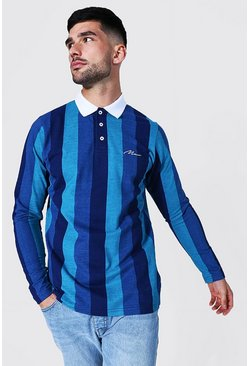 Blue Man Signature Long Sleeve Stripe Pique Polo