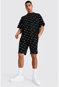Oversized All Over Man T-Shirt And Short Set, Black negro