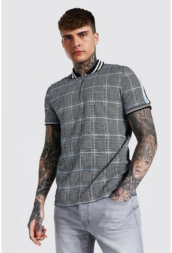 Man Signature Jacquard Tape 1/4 Zip Polo, Grey grau
