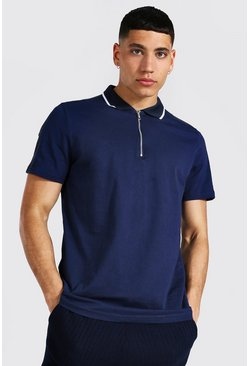 Navy Jacquard Panel 1/4 Zip Polo