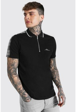 Black Man Signature Jacquard Panel 1/4 Zip Polo