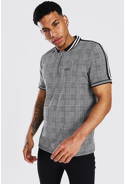 Grey Original Man Jacquard Tape 1/4 Zip Polo