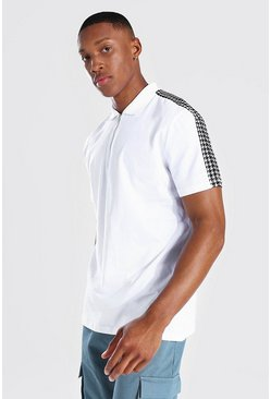 White Jacquard Panel 1/4 Zip Polo