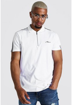 White Man Signature Jacquard Panel 1/4 Zip Polo