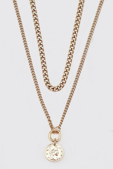 Gold metallic Double Layer Chain With Old Coin Pendant