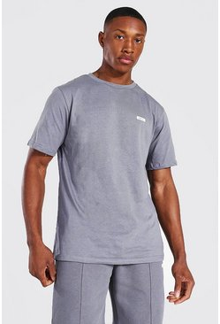 Charcoal grey Man Woven Tab Classic Fit Tee