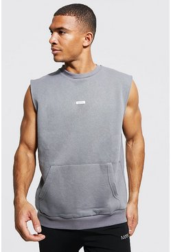 Charcoal grey Man Woven Tab Sleeveless Split Hem Sweater