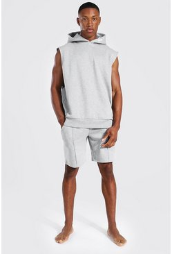 Grey Man Woven Tab Sleeveless Split Hem Hoodie