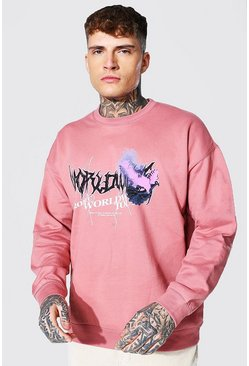 Oversized Worldwide Dove Print Sweatshirt, Pink rosa