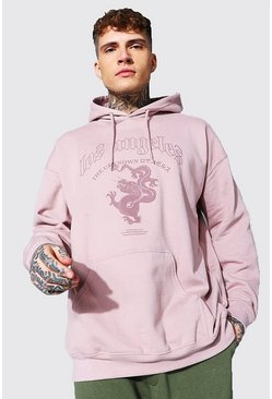 Dusky pink pink Oversized Los Angeles Dragon Print Hoodie