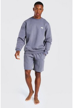 Charcoal grey Man Woven Tab Sweater And Short Tracksuit