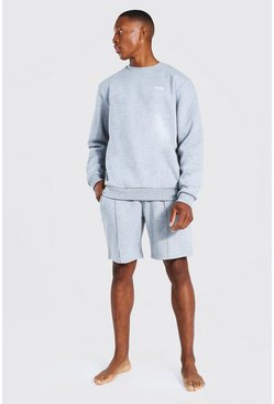Man Sweatshirt & Shorts Trainingsanzug mit Etikett, Grey grau