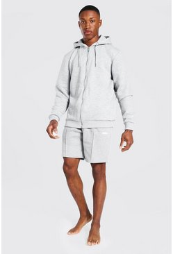 Grey Man Woven Tab Hoodie And Short Tracksuit
