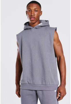 Man Woven Tab Sleeveless Split Hem Hoodie, Charcoal grau