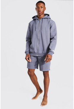 Charcoal grey Man Woven Tab Hoodie And Short Tracksuit