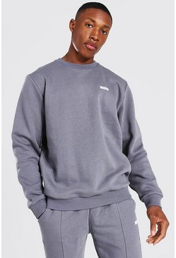 Charcoal grey MAN Woven Tab Long Sleeve Sweater