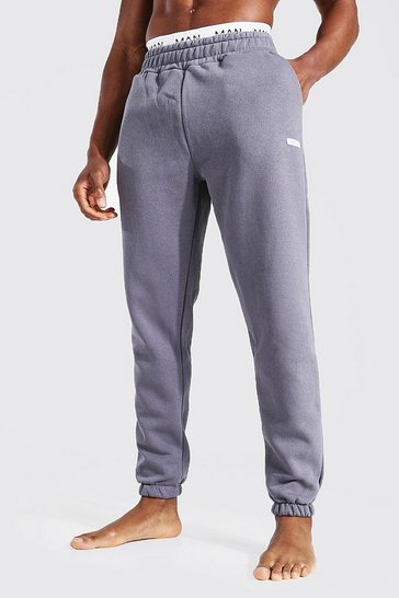 Charcoal grey Man Woven Tab Jogger With Double Waistband