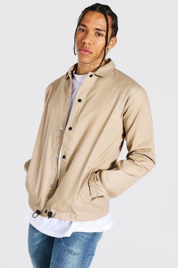 Stone beige Tall Twill Coach Jacket With Popper Fastening