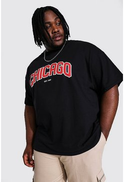 Black Plus Size Chicago Varsity Print T-shirt