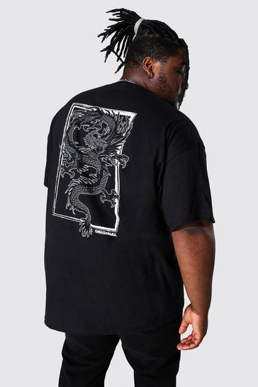 Black Plus Size Dragon Back Print T-shirt
